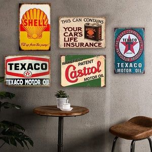 5PCS Gas Motor Oil Antique Tin Signs 12x8inch